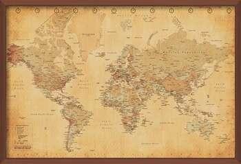 Poster enmarcado World Map - Antique Style