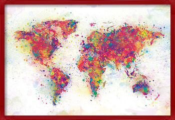 Poster enmarcado World Map - Colour Splash