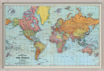 Poster enmarcado Stanfords General Map Of The World - Colour