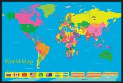 Póster  World map - population of children