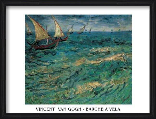 Reproducción de arte  Seascape at Saintes-Maries - Fishing Boats at Sea, 1888