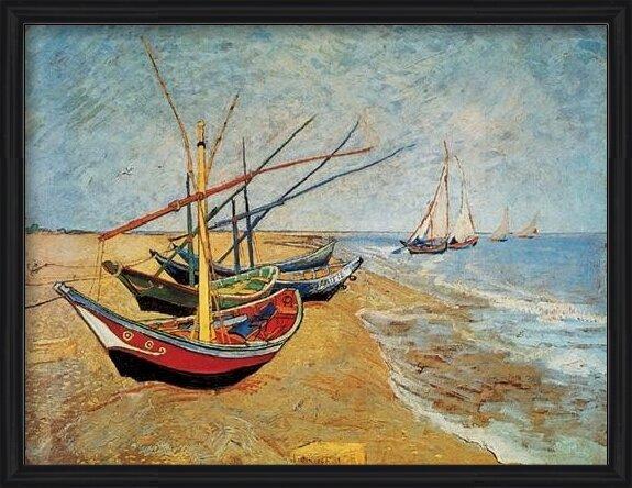 Lámina  Fishing Boats on the Beach at Saintes-Maries, 1888