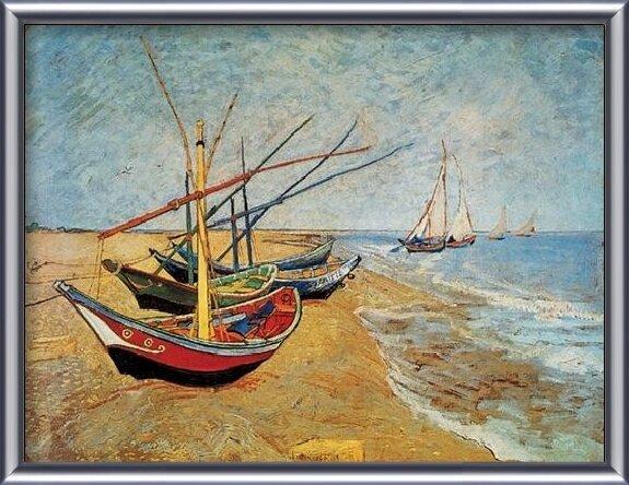 Reproducción de arte  Fishing Boats on the Beach at Saintes-Maries, 1888
