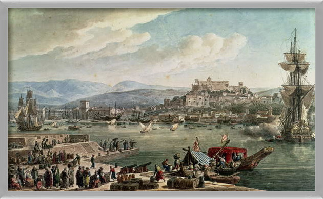 Reproducción de arte  The town and harbour of Trieste seen from the New Mole, published in 1802
