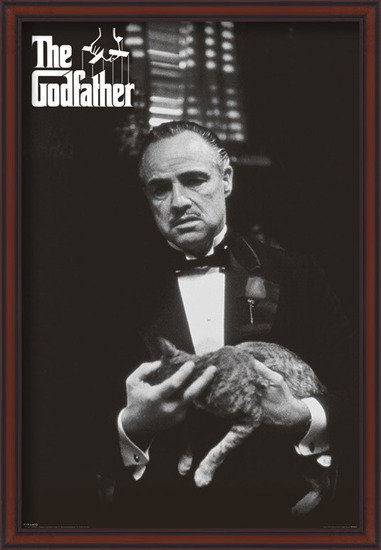 Póster  The Godfather - cat (B&W)