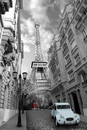 París - red girl blue car